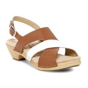 Dansko Lindy Two Tone Leather Flat Sandal Comfort